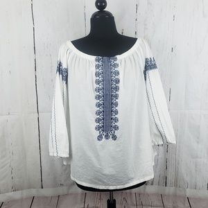 Madewell Folktale Ofd Shoulder Top White Sz XL